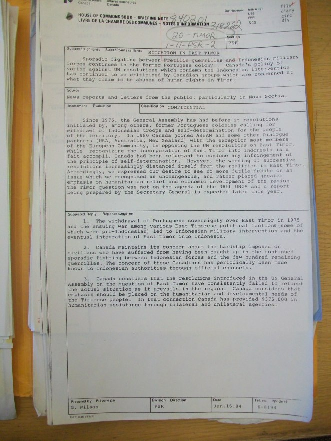 Briefing note 1984